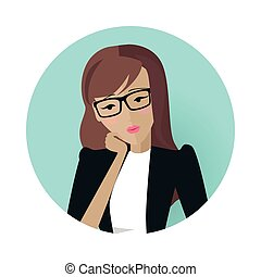 Userpic of a Business Lady. Woman at Work Icon