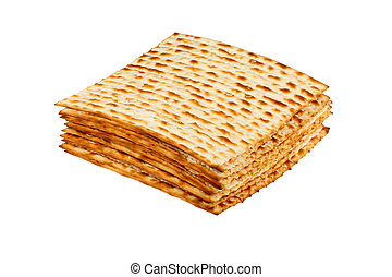 Matzo on white background - Matzo for pesach pile isolated...