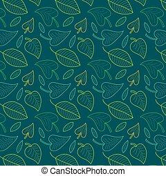 vector, colorido, patrón, hojas,  seamless, Plano de fondo, follaje, fresco, Interminable