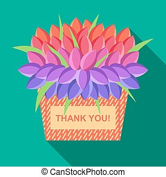 Vector greeting card with place for text with basket of flowers and text Thank you.