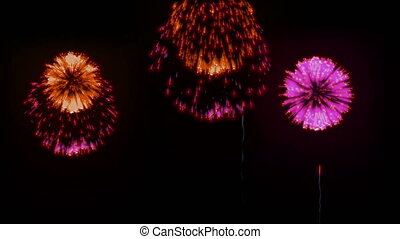 4K big beatiful firework at holiday night. 3d animation with different versions fireckrackers. version 1