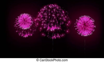 4K firework background. colorful fireckrackers at holiday night. different animation. version 21.