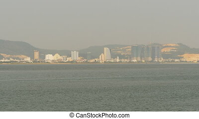 Ha Long city on the north of Vietnam. Panorama of the city from afar.
