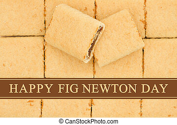 Happy Fig Newton Day greeting, Fig Newtons top view with...