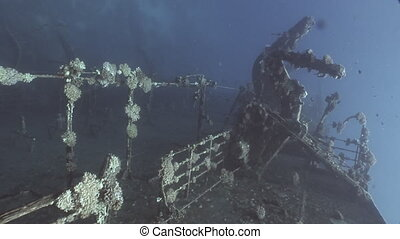 Deck of sunken ship Salem Express shipwrecks underwater on...