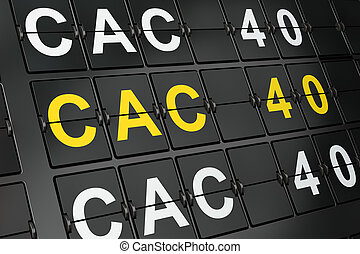 Stock market indexes concept: CAC 40 on airport board...