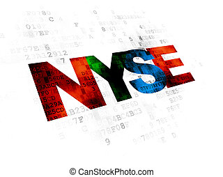 Stock market indexes concept: NYSE on Digital background -...
