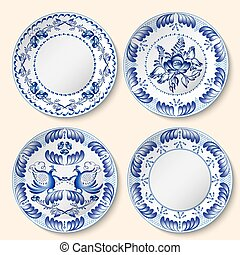 Set of decorative porcelain plates with blue national...