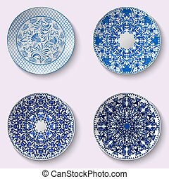 Set of decorative porcelain dishes with blue ethnic pattern...