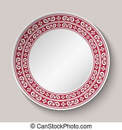 Decorative dish with red and white circular pattern. Empty...