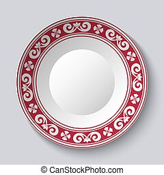 Ornamental dish with red pattern in the style of ethnic porcelain painting. Empty Space for text in the center.