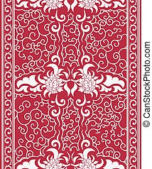 Seamless vertical pattern in a Chinese style. Borders of white flowers and curls on red background.
