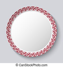 Circular ornament frame applied to a decorative porcelain...