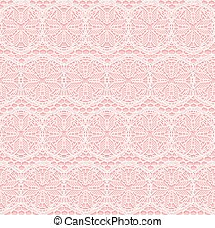 White and pink seamless lace fabric. Vector illustration