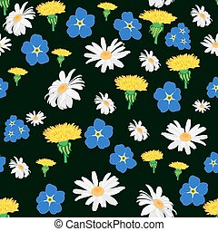 Seamless pattern with white daisies, cornflowers and...