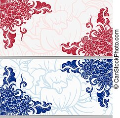 Set of horizontal cards with floral elements on the corners in two colors.