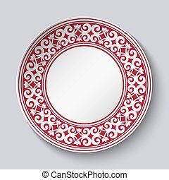 Ornamental dish with red pattern in the style of ethnic...