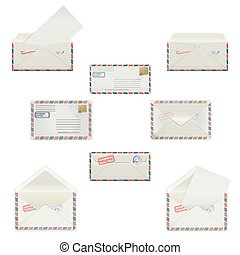 Set envelopes of various formats with postal stamps isolated on white background