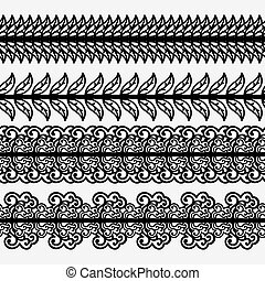 Set of seamless borders with leaves. Monochrome black and white pattern.