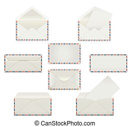 Set of blank white envelopes. Template mockups in four views, front and back, open and closed, sealed and printed with sheet paper inside.