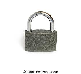 Gray metal pent padlock isolated closeup - Gray metal...