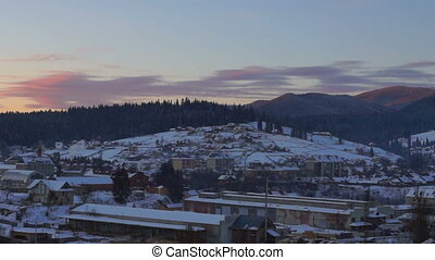 Dawn time lapse winter village - Time lapse shot at sunrise...