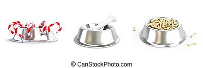 Metal dog dish and bone set on a white background 3D...