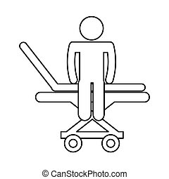 medical stretcher with patient isolated icon vector...