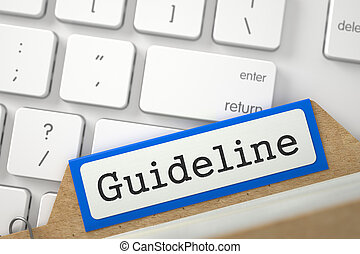 Card Index with Guideline. 3D. - Guideline written on Blue...
