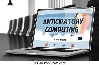 Anticipatory Computing on Laptop in Conference Room. 3D. -...