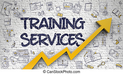 Training Services Drawn on White Wall. - White Brickwall...