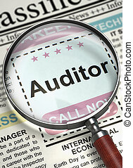 Auditor Wanted. 3D. - Column in the Newspaper with the Small...