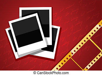 photo shots and gold film on red background vector...