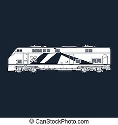 Locomotive on Black Background - Locomotive Silhouette on...