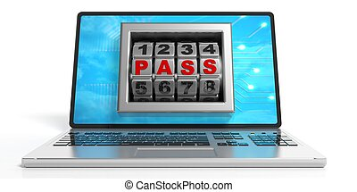 Word pass on a laptop's screen. 3d illustration -...