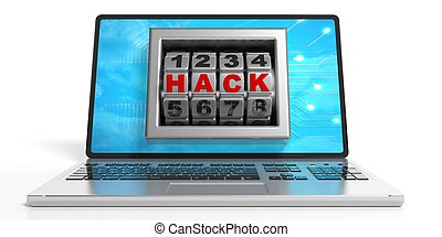 Word hack on a laptop's screen. 3d illustration -...