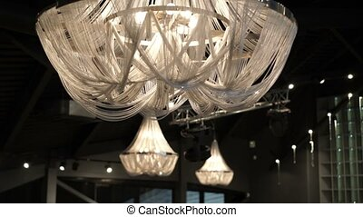 Beautiful lamps in restaurant pan