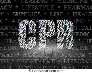 Healthcare concept: CPR in grunge dark room - Healthcare...