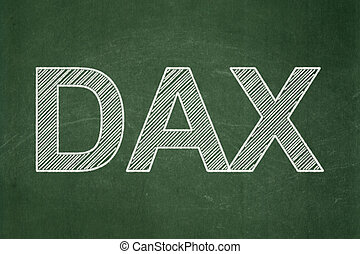 Stock market indexes concept: DAX on chalkboard background -...