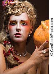 Mistress of garden. - A portrait of an ultramodern painted...