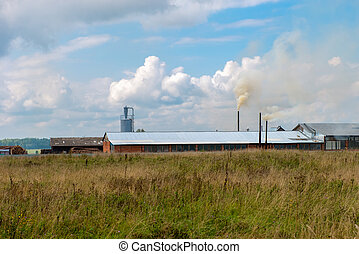 View of a factory in the middle of a green field in the early morning. Factory pipes polluting air, a serious environmental issue