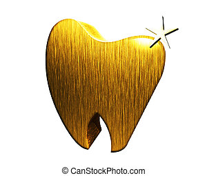 Gold tooth 3D image logo - Gold tooth 3D image illustration...