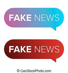 Fake News Warning speech bubble set