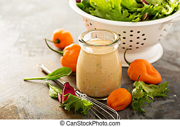 Sriracha ranch salad dressing with hot peppers