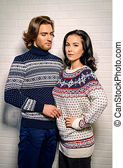 knitwear collection - Winter fashion. Handsome man and...