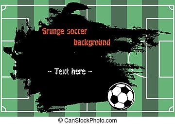 Set of hand drawn grunge banners with soccer ball and field....
