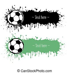 Set of hand drawn grunge banners with soccer ball. Black...
