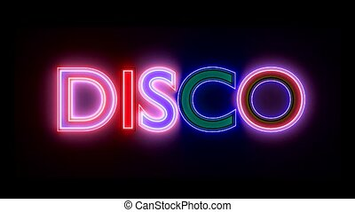 Disco neon sign lights logo text glowing multicolor 4K