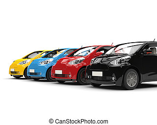 Row of cool urban modern compact cars - various colors