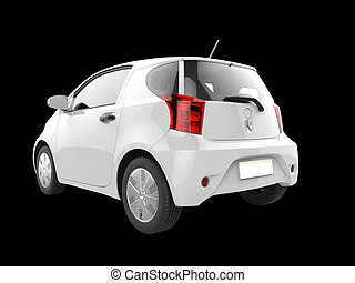 White small urban modern electric car - taillight view